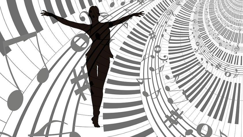 Getekende baletdanser met muzieknoten en klavier artistiek getekend op de achtergrond